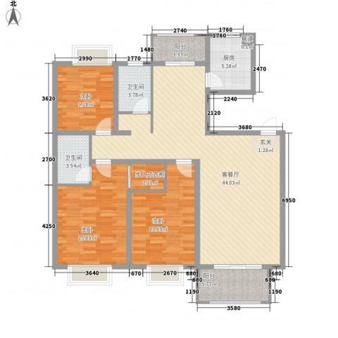 报业园3室1厅2卫1厨153.00㎡户型图