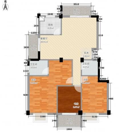 东城国际二期3室1厅2卫1厨123.00㎡户型图