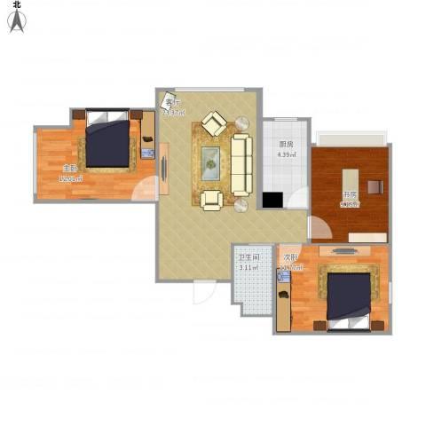 新源燕府3室1厅1卫1厨86.00㎡户型图