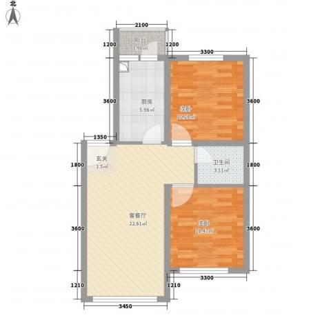 千禧・幸福城2室1厅1卫1厨74.00㎡户型图