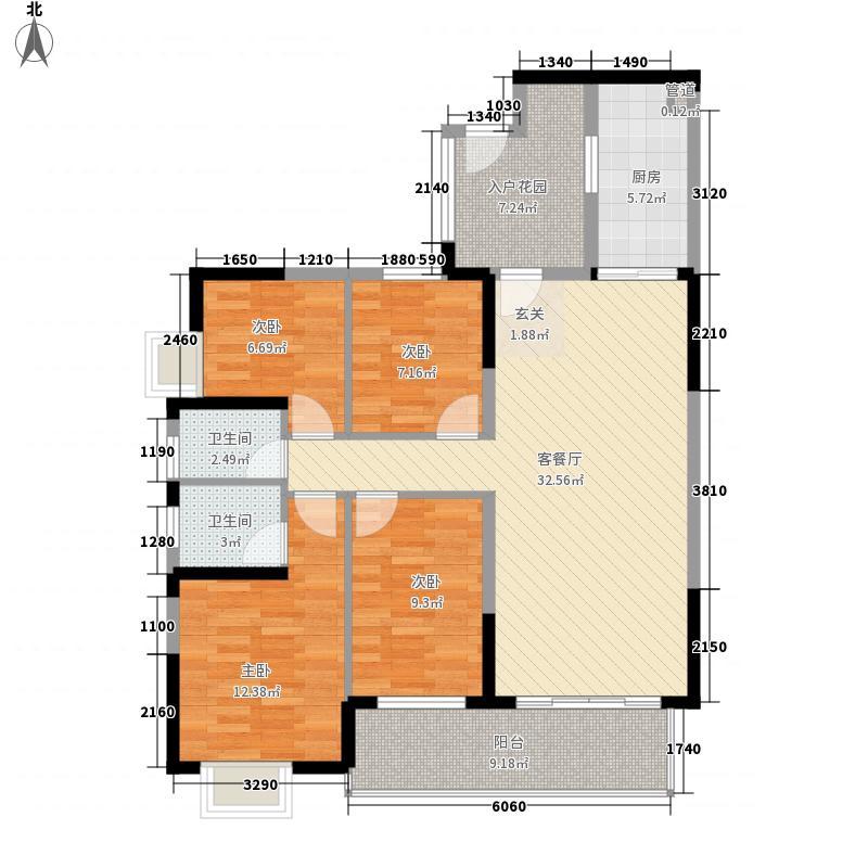 鸿禧华庭137.35㎡0102-户型4室2厅2卫1厨