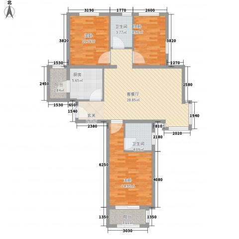 仁泰里3室1厅2卫1厨82.68㎡户型图
