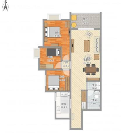 曲江诸子阶3室1厅2卫1厨120.00㎡户型图