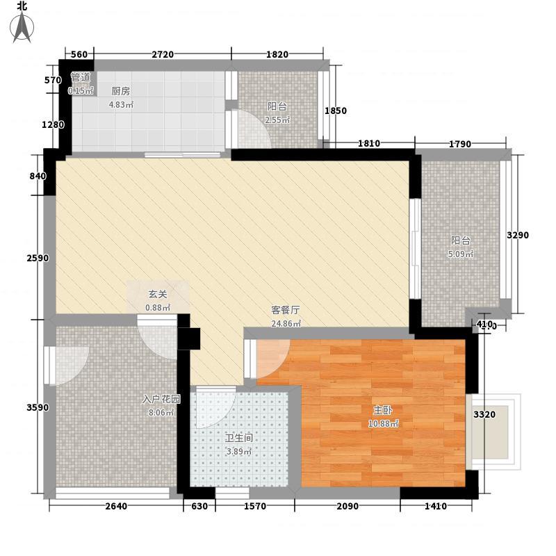 佳兆业广场7.70㎡一居室B户型1室2厅1卫1厨