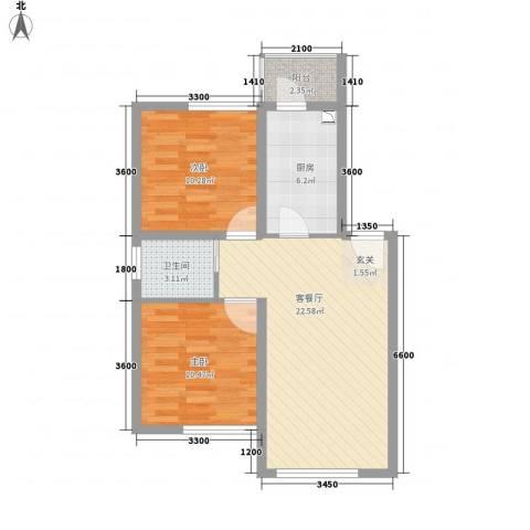 千禧・幸福城2室1厅1卫1厨76.00㎡户型图