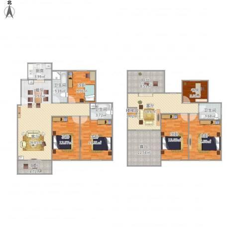 大观名园6室1厅3卫1厨221.00㎡户型图