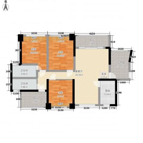 滨江晋业豪园3室1厅2卫1厨136.00㎡户型图