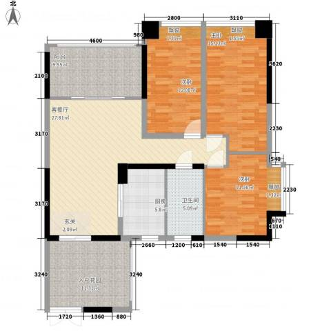 滨江晋业豪园3室1厅1卫1厨140.00㎡户型图