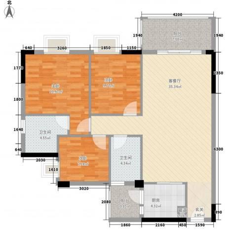 顺丰翠园3室1厅2卫1厨111.00㎡户型图