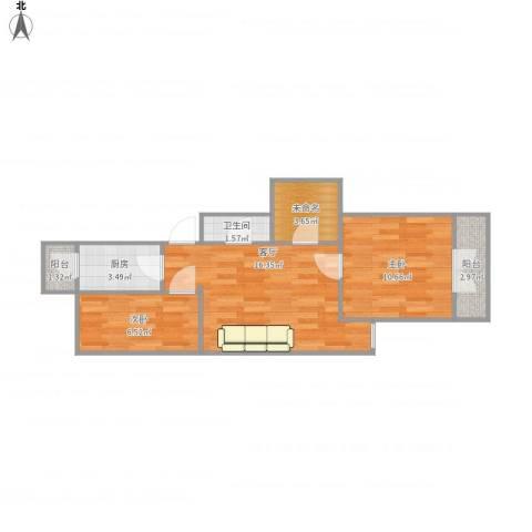 滨河西里北区2室1厅1卫1厨64.00㎡户型图