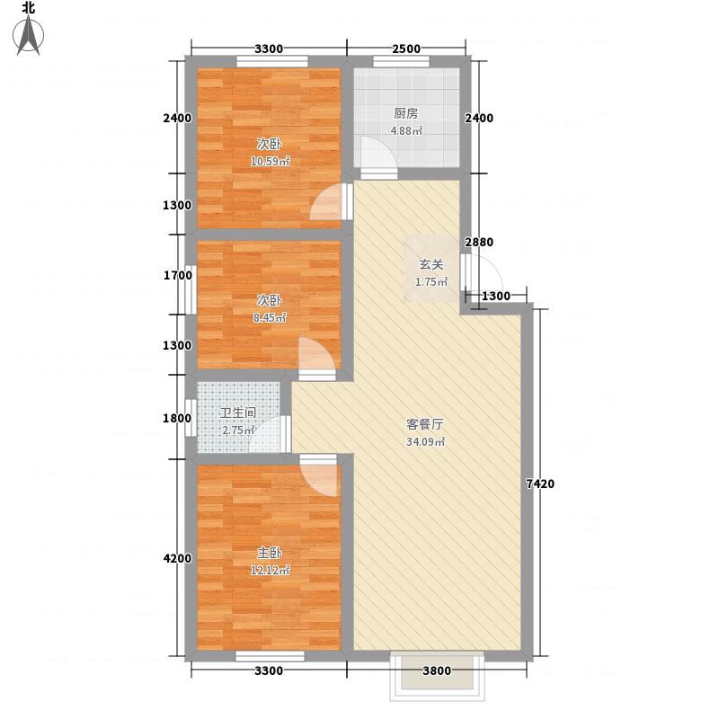 吕梁水岸颐园112.20㎡户型3室2厅1卫1厨