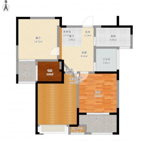 观湖壹号2室1厅1卫1厨118.00㎡户型图
