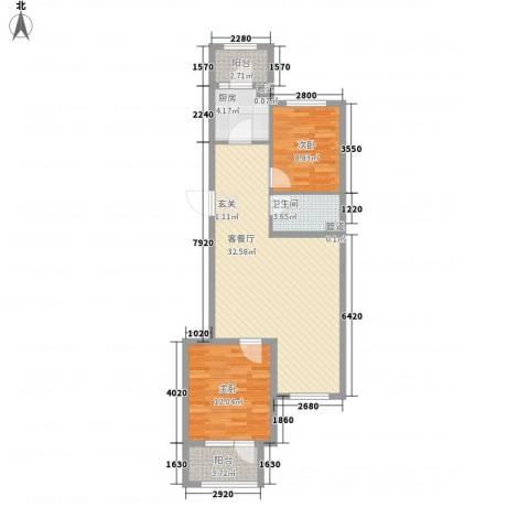 开元溪府2室1厅1卫1厨67.87㎡户型图