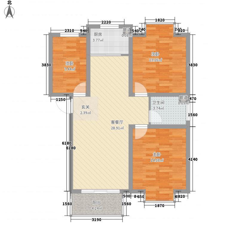 世代天骄17.20㎡H户型3室2厅1卫1厨