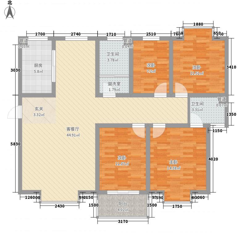 世代天骄154.18㎡L户型4室2厅2卫1厨
