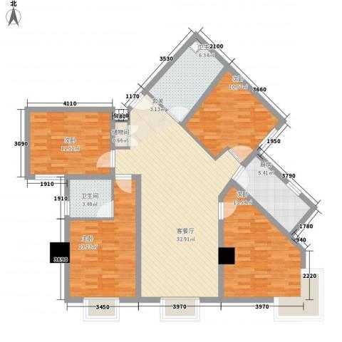 东岸未来城4室1厅2卫1厨138.00㎡户型图