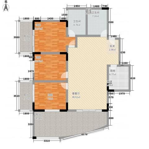 宏明大厦3室1厅2卫1厨167.00㎡户型图