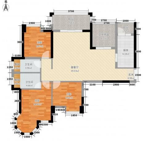东信华府3室1厅2卫1厨13122.00㎡户型图