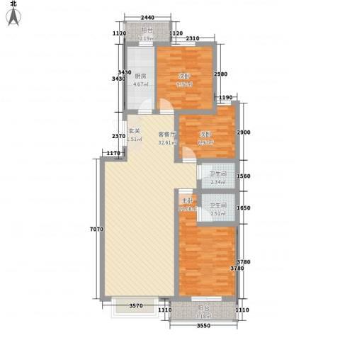 昊业・紫御府3室1厅2卫1厨88.00㎡户型图