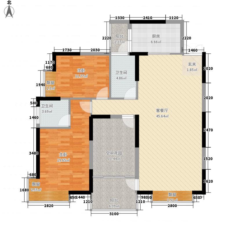 湘水明珠131.50㎡A栋06户型3室2厅2卫1厨