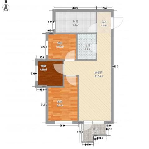 文润金宸3室1厅1卫1厨78.00㎡户型图