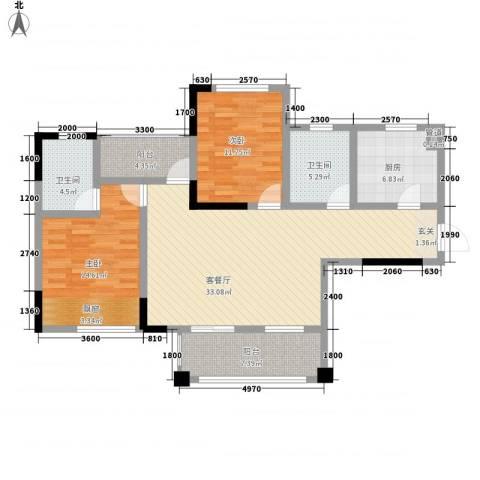 华恩・凯丽滨江2室1厅2卫1厨116.00㎡户型图