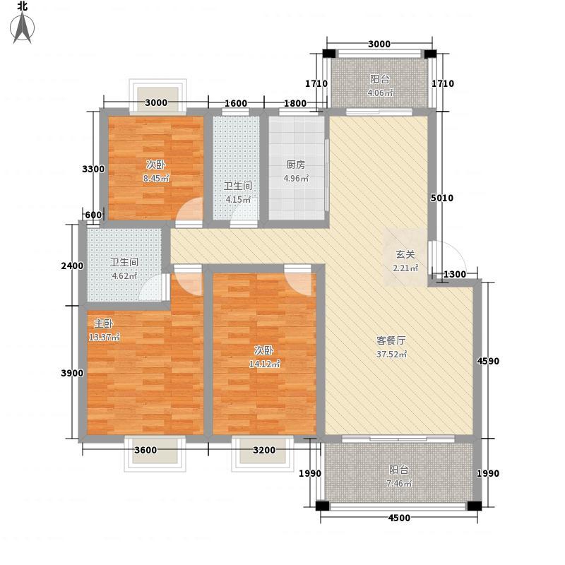 金湘富都118.53㎡C户型3室2厅2卫1厨