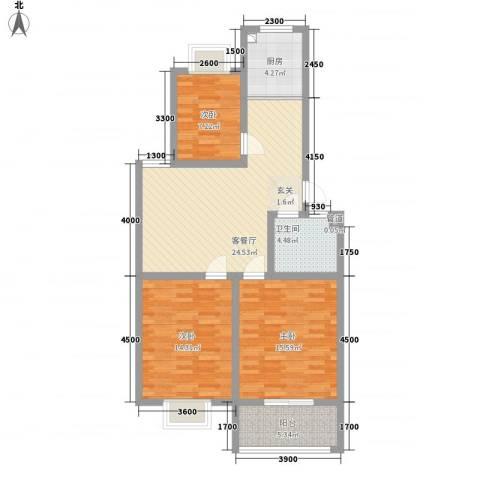 威海花园3室1厅1卫1厨110.00㎡户型图