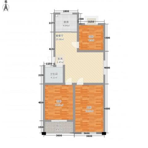 威海花园3室1厅1卫1厨116.00㎡户型图