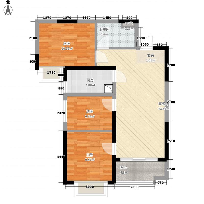 恒大翡翠华庭8.00㎡4#14#E户型3室2厅1卫1厨