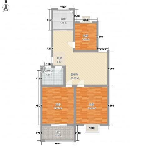 威海花园3室1厅1卫1厨118.00㎡户型图