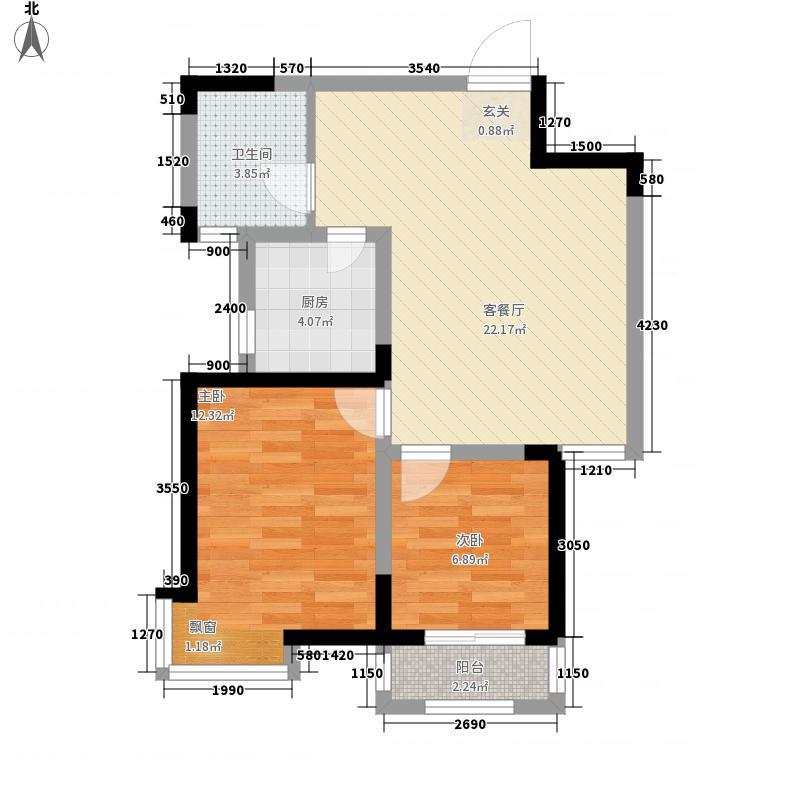 金龙湾75.00㎡11B户型2室2厅1卫1厨