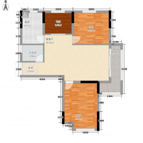 青年城1号3室1厅1卫1厨77.94㎡户型图