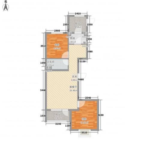 开元溪府2室1厅1卫1厨61.81㎡户型图