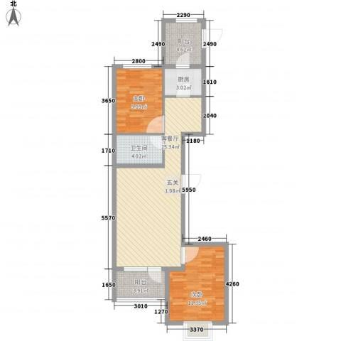 开元溪府2室1厅1卫1厨89.00㎡户型图