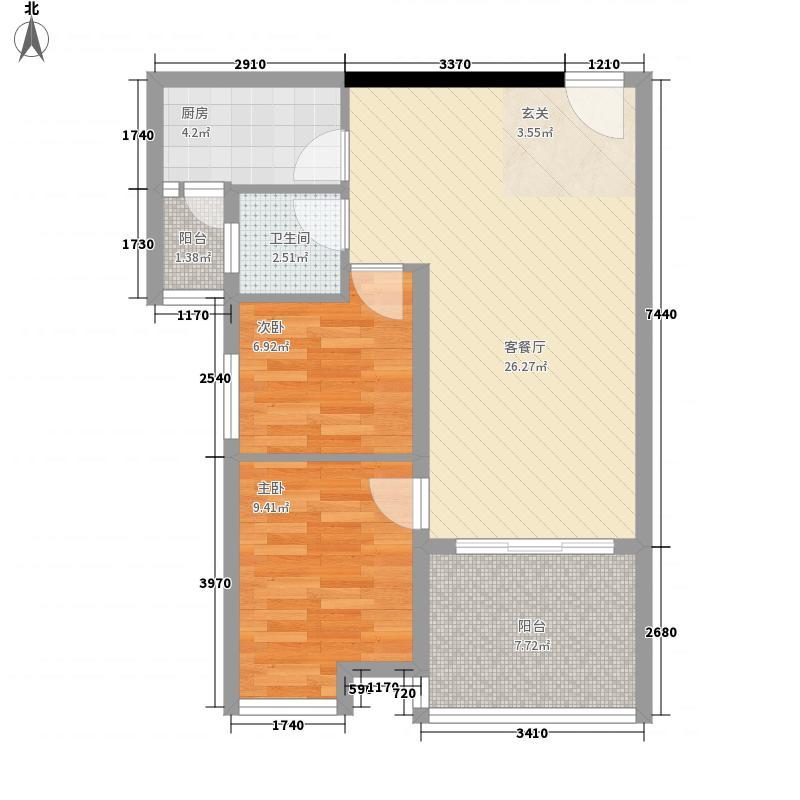 丽景湾84.26㎡A1户型2室2厅1卫1厨