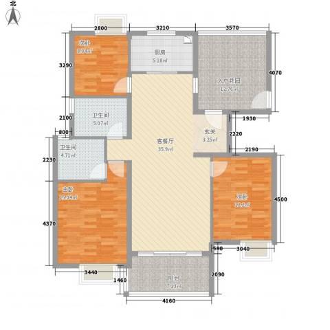 黄山雨润星雨华府3室1厅2卫1厨106.27㎡户型图