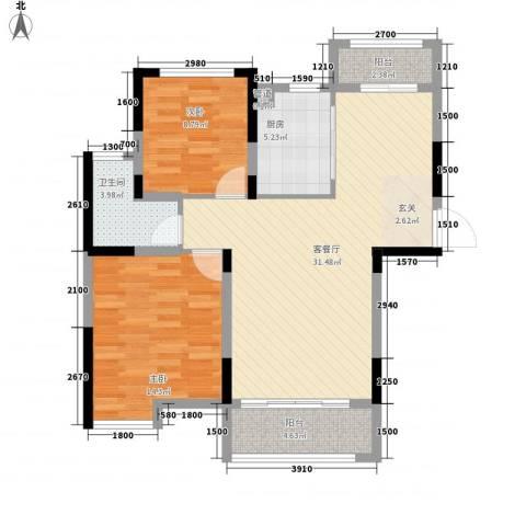 青年城1号2室1厅1卫1厨70.88㎡户型图