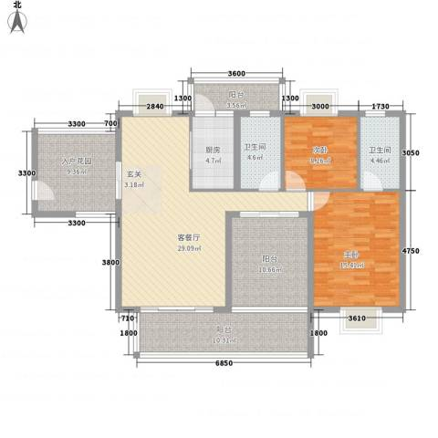 丽景湾2室1厅2卫1厨100.40㎡户型图