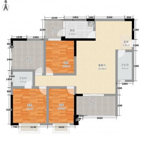 兰乔圣菲3室1厅2卫1厨110.00㎡户型图