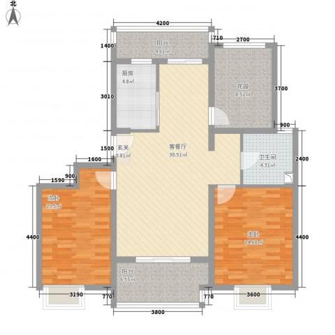 黄山雨润星雨华府2室1厅1卫1厨87.20㎡户型图