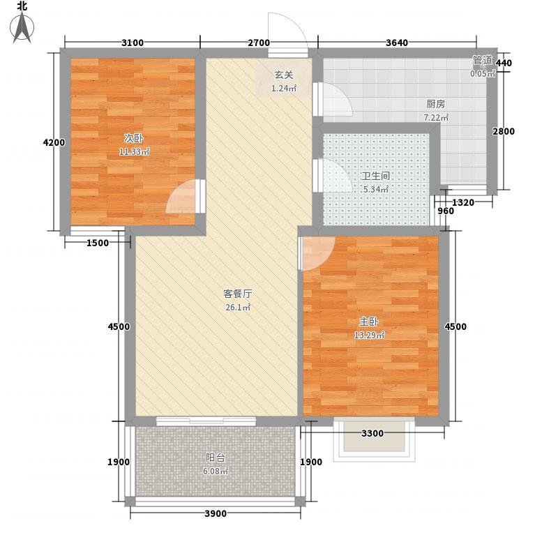 文锦华庭6.00㎡E户型2室2厅1卫1厨