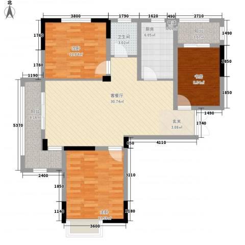 青年城1号3室1厅1卫1厨111.00㎡户型图