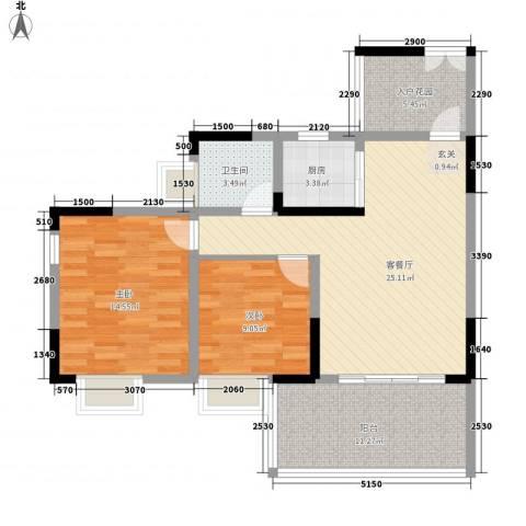 上河鹂岛2室1厅1卫1厨85.00㎡户型图