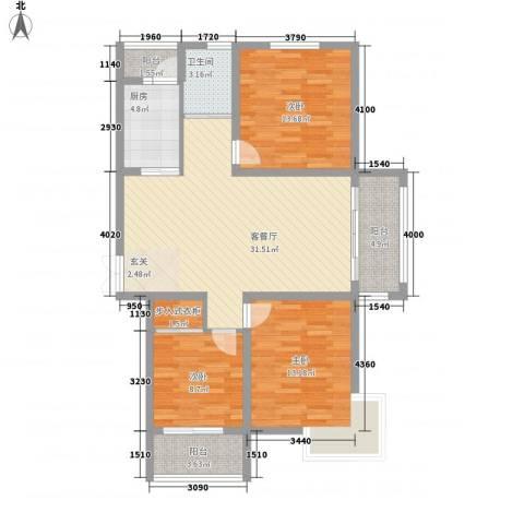 锦华广场3室1厅1卫1厨125.00㎡户型图