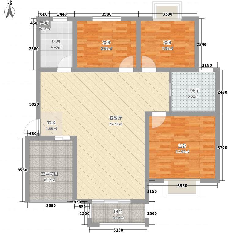 胜锦尚城国际126.56㎡F1户型3室2厅1卫1厨