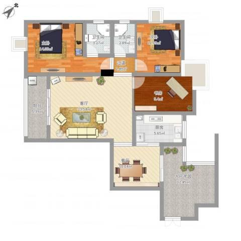 天府丽正3室2厅2卫1厨140.00㎡户型图