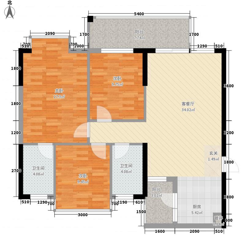 七里香溪518.52㎡05号房户型3室2厅2卫1厨