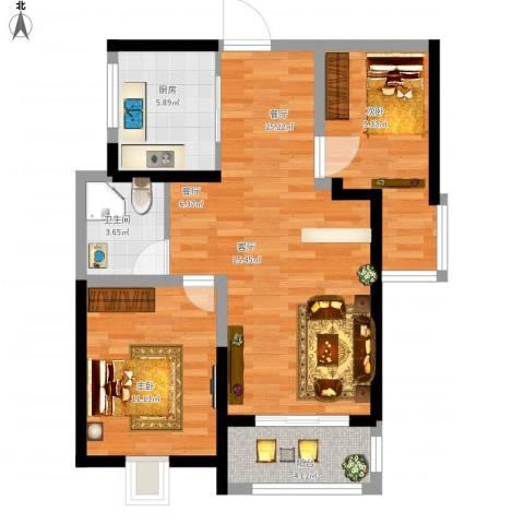 高速时代城2室1厅1卫1厨86.00㎡户型图