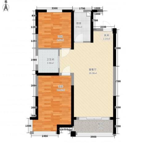渤海之星2室1厅1卫1厨95.00㎡户型图
